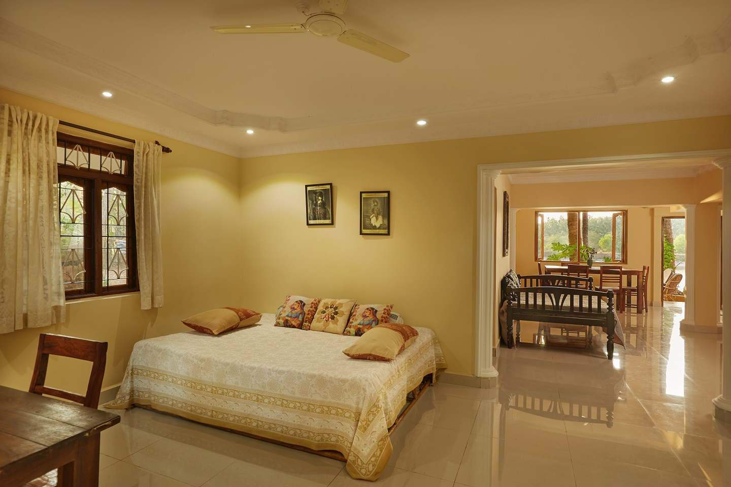 Two Bedroom Self-Service AC Apartment, Talpona, Goa living and dining room